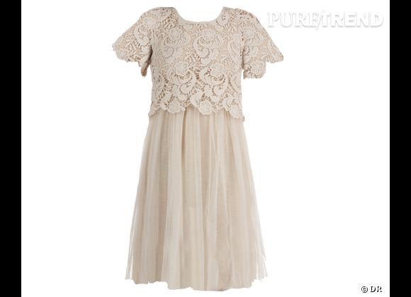Invitée à un mariage ?  Robe Aggabarti en tulle et crochet, 145 €. A shopper sur Monshowroom.com