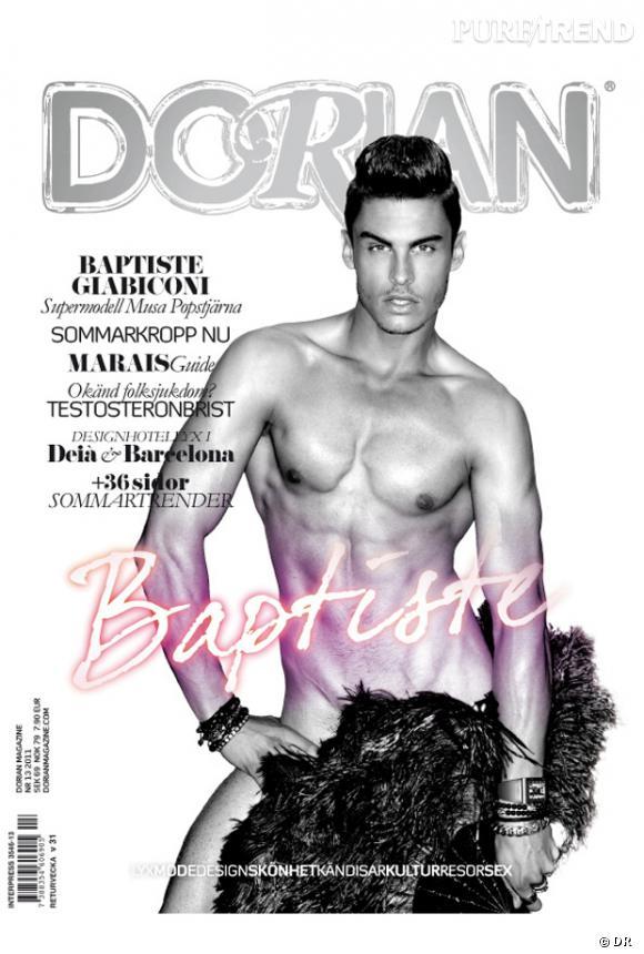 """Baptiste Giabiconi en couverture du magazine gay """"Dorian""""."""