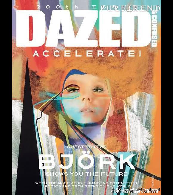 """Björk, en couverture du 200e numéro de """"Dazed & Confused""""."""