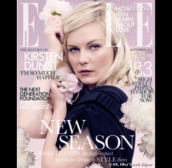 """Kirsten Dunst en couverture du """"Elle"""" Anglais pour le numéro de septembre."""