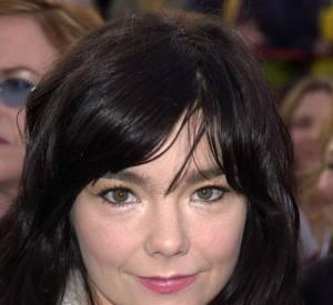 Björk arbore un maquillage discret pour ne pas détourner l'attention du volatil.