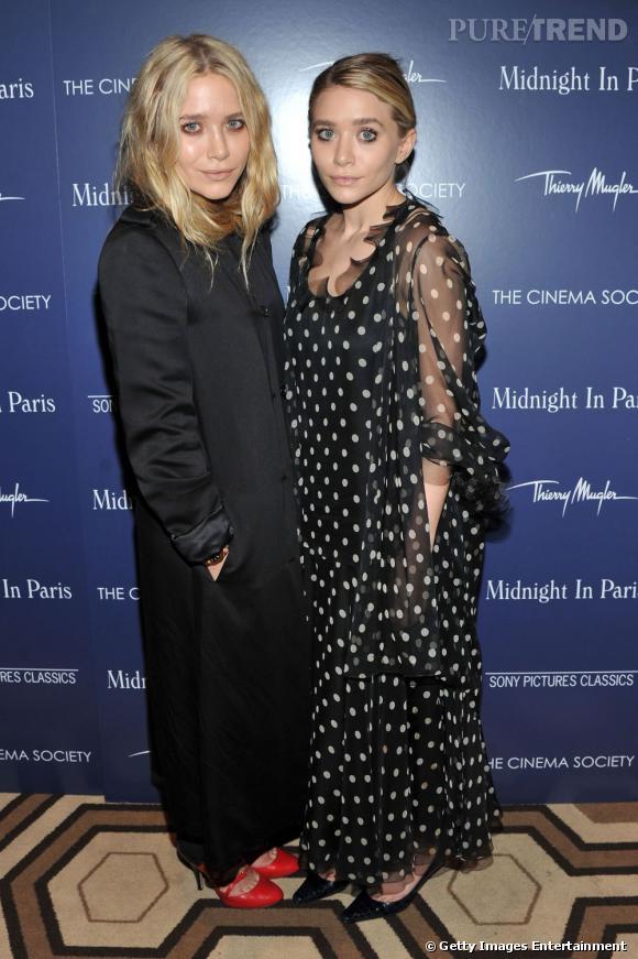 Zoom sur les pois !    Ashley Olsen adopte la tendance dans une version classique, robe noire à pois blancs.