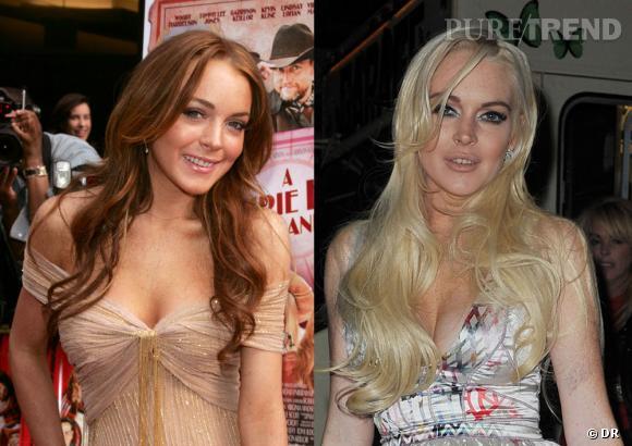 Lindsay Lohan en 2006 et en 2010.