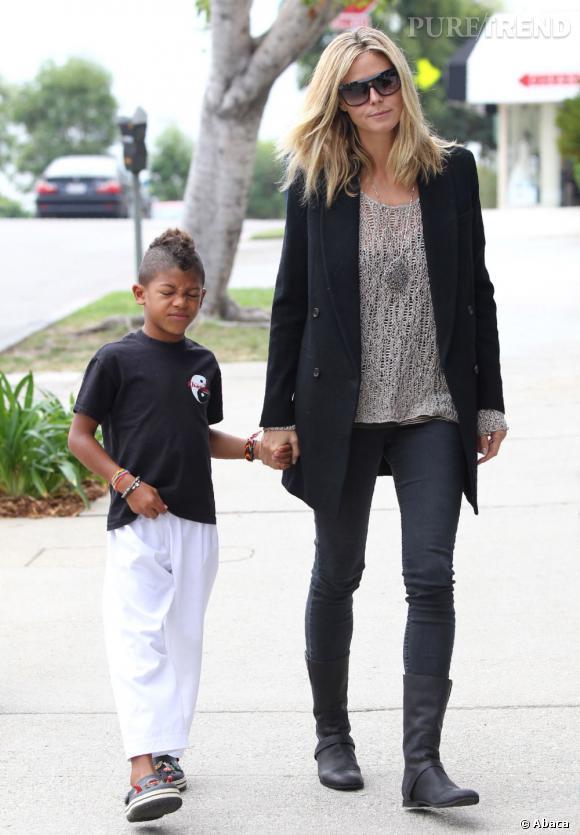 Heidi Klum à Los Angeles avec ses enfants.
