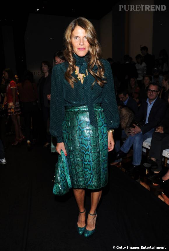 Anna Dello Russo au front row Gucci Printemps-Été 2012 à Milan.