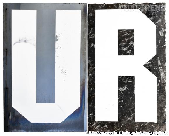 Cyprien GAILLARD UR, Underground Resistance and Urban Renewal 2011 Sérigraphies sur verre et marbre fossile noir 241 x 246,5 cm chaque