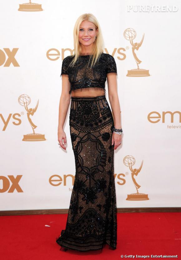 Gwyneth Paltrow, la plus audacieuse de la semaine, en robe Emilio Pucci de la collection Printemps-Été 2012.
