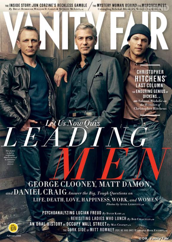 Daniel Craig, George Clooney, Matt Damon en couverture du numéro de février 2012 de Vanity Fair.