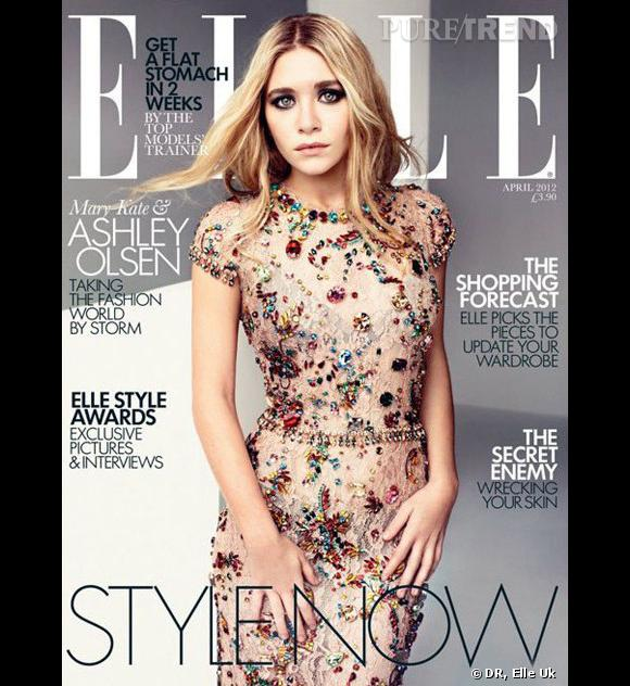 Ashley Olsen en robe Dolce & Gabbana en couverture d'Elle UK pour avril 2012.