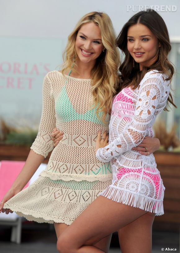 Miranda Kerr et Candice Swanepoel lancent l'édition 2012 des maillots de bain Victoria's Secret.