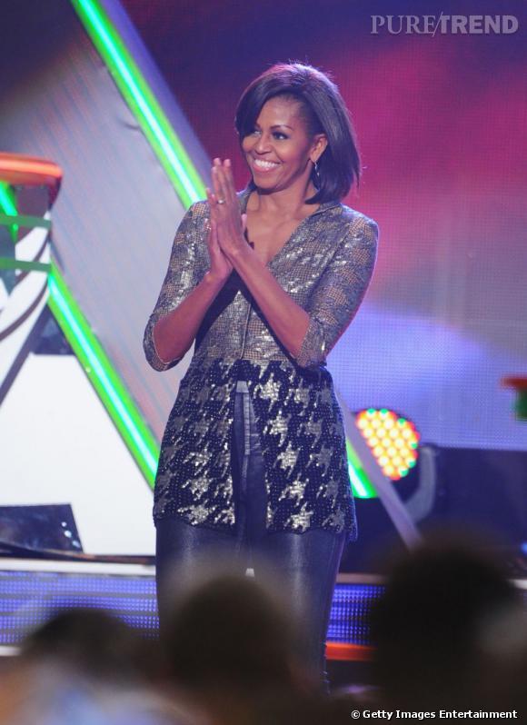 Look glitter pour la Première dame des Etats-Unis.