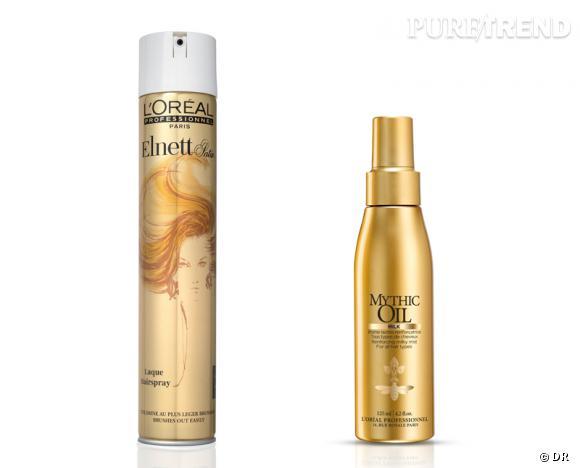 Notre shopping L'Oréal Professionnel :    Laque Elnett, 28,30€ les 500 ml.   Brume lactée Mythic Oil, 23,50 € les 125 ml