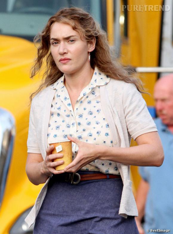 """Kate Winslet sur le tournage de """"Labor Day"""" de Jason Reitman à Boston."""