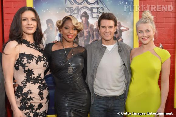 "Catherine Zeta-Jones, Mary J Blige, Tom Cruise et Julianne Hough prennent la pose pour l'avant-première de ""Rock of Ages"" à Los Angeles"