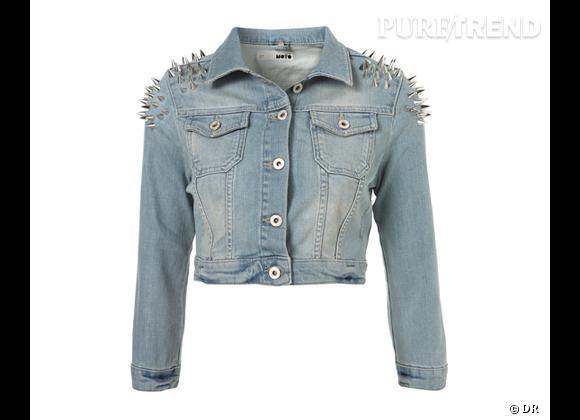 Comme les stars adoptez la veste en jean !      Veste en jean cloutée  Topshop , 79 €