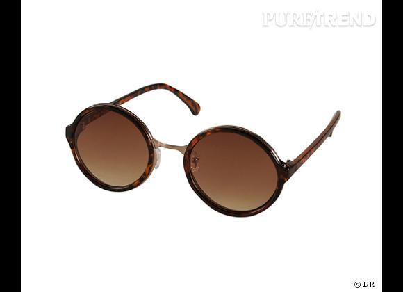 Comme les stars osez la tendance lunettes rondes      Lunettes de soleil  Topshop , 21 €