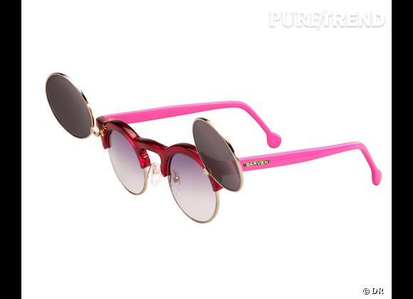 Comme les stars osez la tendance lunettes rondes      Lunettes de soleil  Anastasie  Carven, 280 €