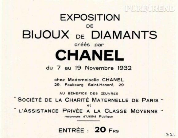 """Invitation à l'exposition des """"Bijoux de Diamants"""" créés par Chanel. Novembre 1932."""