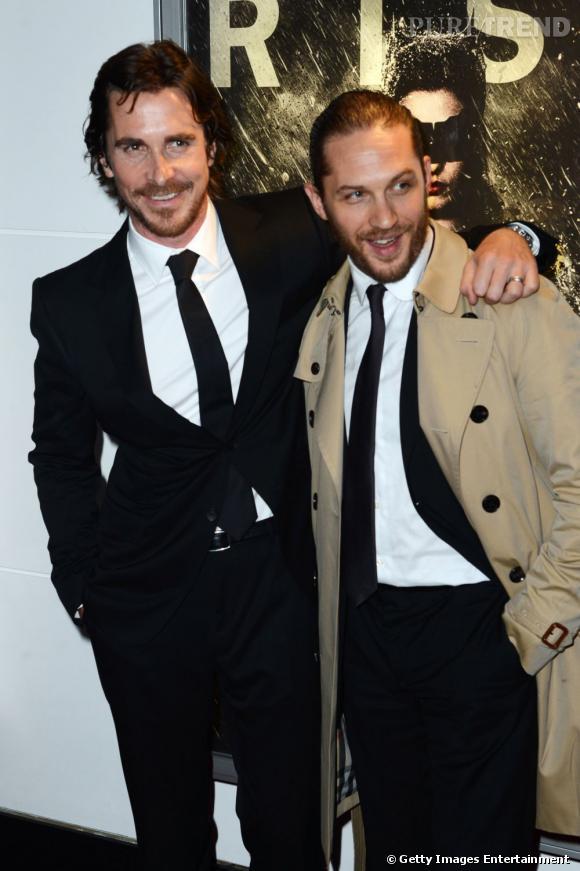 "Christian Bale et Tom Hardy lors de la première londonienne du film ""The Dark Knight Rises""."