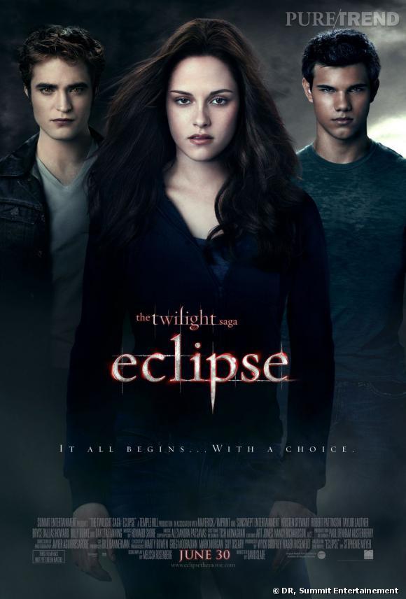 """Robert Pattinson, Kristen Stewart et Taylor Lautner dans le troisième volet de la saga Twilight, """"Eclipse""""."""