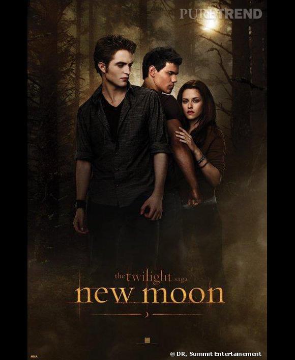 """Robert Pattinson, Taylor Lautner et Kristen Stewart dans le second volet de la saga Twilight, """"New Moon""""."""
