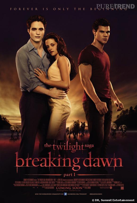 """Robert pattinson, Kristen Stewart et Taylor Lautner dans """"Twilight Breaking Dawn part 1""""."""