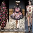 J comme Jardin d'hiver       Voilà une autre tendance qui survit à l'hiver 2011-2012 : le monde végétal ne semble pas résigner à se mettre en stand by dès les premiers frimas. Les motifs floraux viennent à nouveau booster la plupart des collections, et c'est tant mieux.       Défilés Comme des Garçons, MQ Alexander McQueen, Dolce & Gabbana.