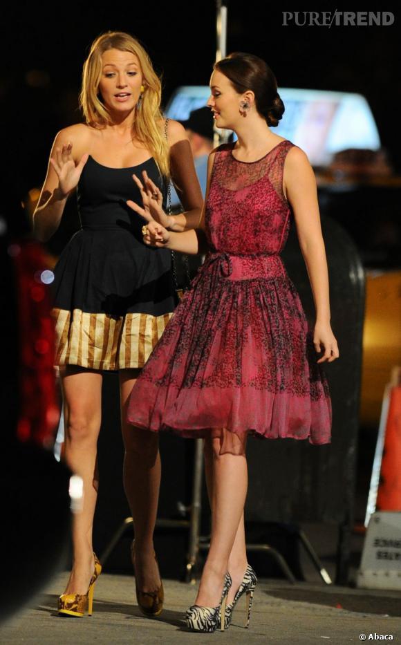 Blake Lively et Leighton Meester,complices à la vie comme à l'écran, sur le tournage de Gossip Girl.