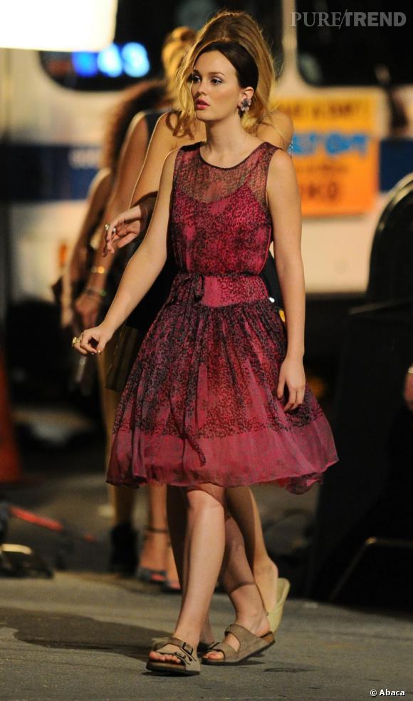 Leighton Meester revêt de nouveau ses jolies robes de princesse pour interprêter le personnage de Blair Waldorf sur le tournage de la dernière saison de Gossip Girl.