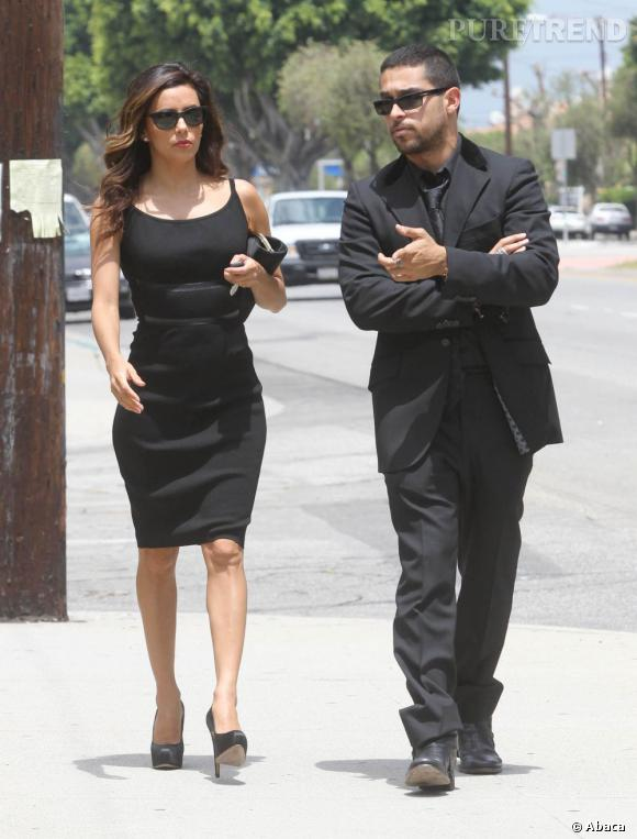 Eva Longoria et son ami Wilmer Valderrama à la sortie des obsèques de Lupe Ontiveros, le 3 août dernier à Los Angeles.