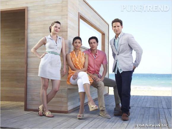 Royal Pains, la série médicale qui se passe sous le soleil des Hamptons. De gauche à droite : Jill Casey, Divya Katdare, Evan et Hank Lawson.