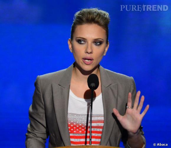 Scarlett Johansson a elle aussi eu droit à quelques minutes à la tribune.