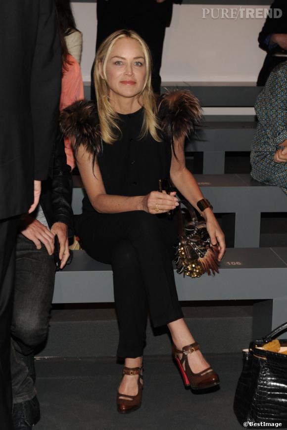 Sharon Stone au défilé Fendi.