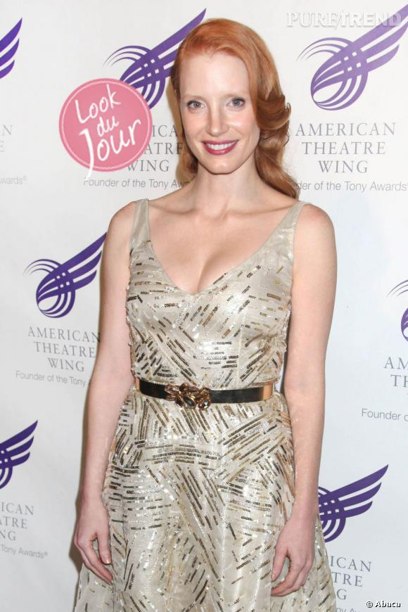 Jessica Chastain, gravure de mode lors du gala annuel du Americain Theatre Wing à New York.