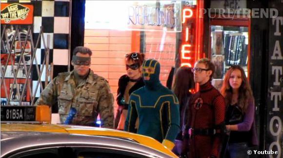 """Jim Carrey et Aaron Johnson sur le tournage de """"Kick-Ass 2"""" à Toronto."""