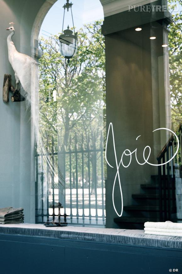 Vitrine de la boutique Joie à Paris.    Adresse :   134/137 Galerie de Valois   75001 Paris