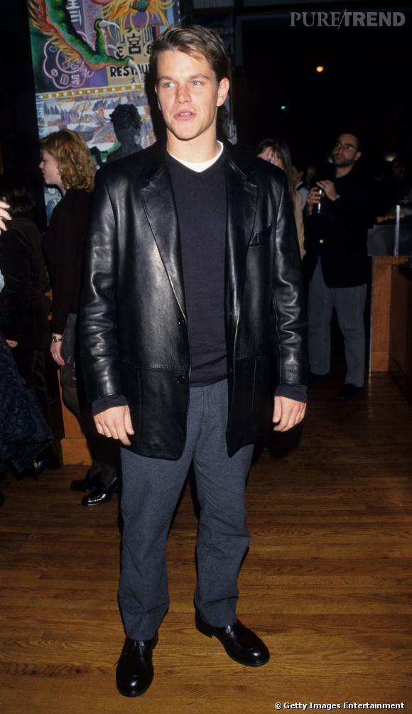 Matt Damon, allure rock&roll en cuir.