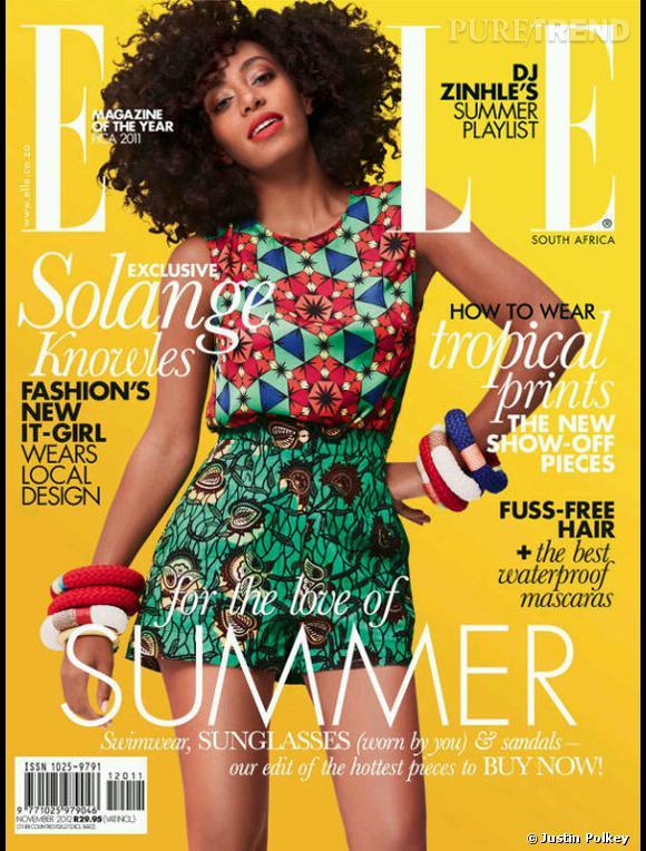 Solange Knowles fait la couverture du magazine Elle, édition sud-africaine pour le mois de novembre 2012.