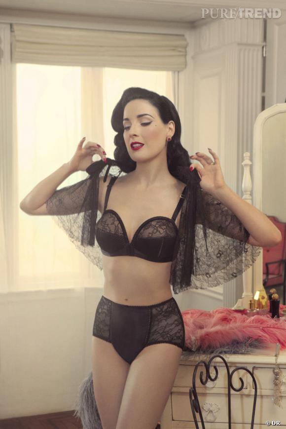 Sélection lingerie : dentelle noire délicate et sexy    Soutien-gorge et culotte haute Overwire, Von Follies de Dita von Teese, 46,90 et 27,90 € sur  www.glamuse.com