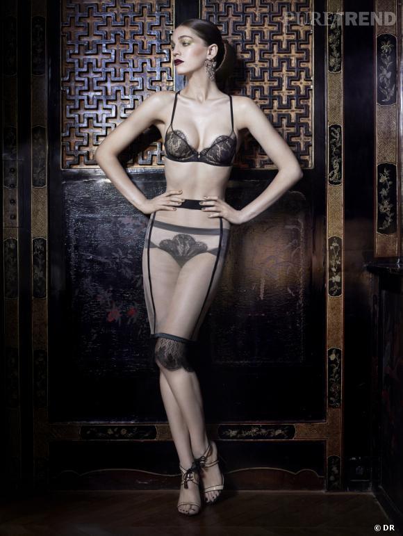 Sélection lingerie : dentelle noire délicate et sexy    Collection Shanghai San Exclusive, La Perla. Soutien-gorge, jupon et culotte, 189, 368 et 98 €.