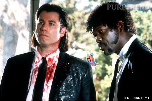 Dans  Pulp Fiction , Vincent Vega, interpreté par  John Travolta , opte pour un carré tiré en arrière digne des meilleurs hommes de mains et Samuel L. Jackson, aka Jules Winnfield, préfère quant à lui de jolies rouflaquettes, une barbe taillée et une afro.
