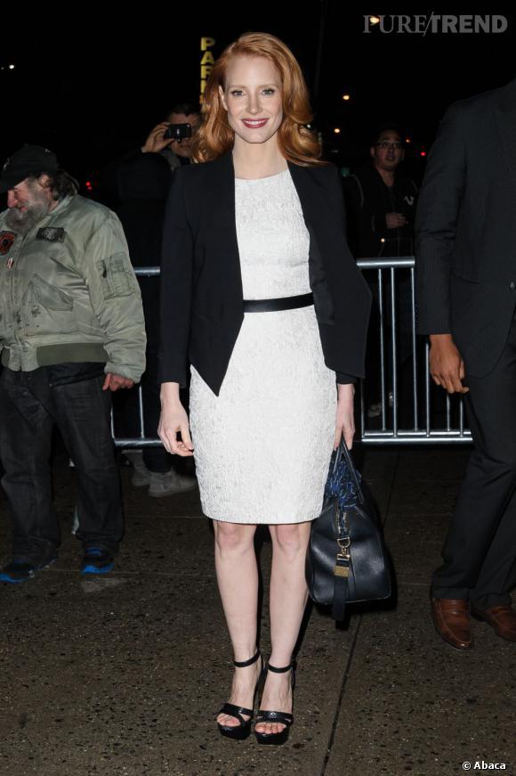 Jessica Chastain invitée du Daily Show With Jon Stewart à New York le 17 janvier 2013.