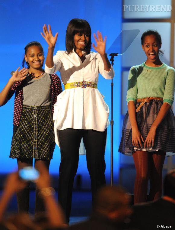 Michelle Obama et ses filles pour le premier jour de l'Investiture.