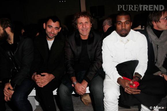 Nicola Formichetti, Renzo Rosso et Kanye West en front row du défilé Maison Martin Margiela.