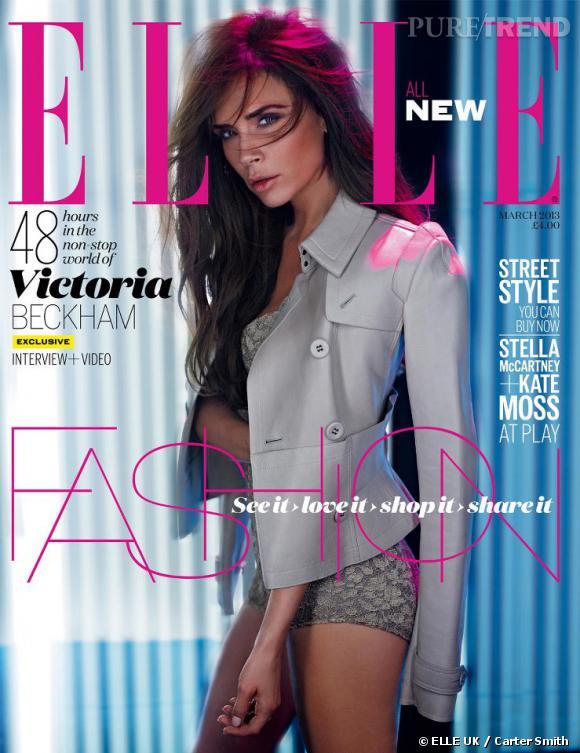 Victoria Beckham en couverture du magazine Elle édition UK pour le mois de mars 2013.