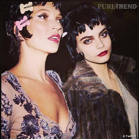Kate Moss et Cara Delevingne en coulisses du défilé Louis Vuitton pour la Fashion Week Paris.