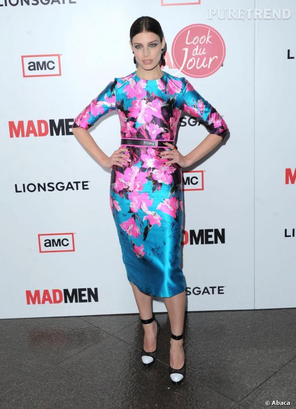 """Jessica Paré, véritable tornade printanière à la première de la saison 6 de """"Mad Men"""", à Los Angeles."""