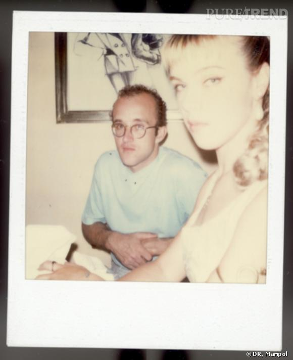 Polaroid de Maripol en 1985, Keith haring et Deborah Mazar.