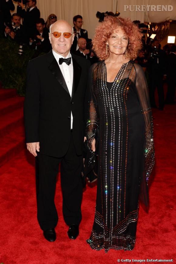 Diane Von Furstenberg avait pour l'occasion, peint ses cheveux en rose. Une extravagance qui n'a pas semblé être au goût de son mari Barry Diller.