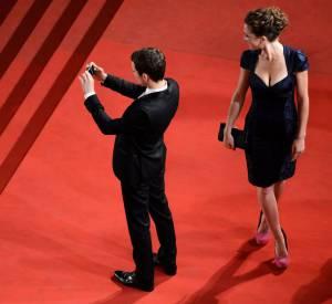 """Elijah Wood et Geneviève Alexandra à la projection de """"Maniac"""" lors du Festival de Cannes 2012."""